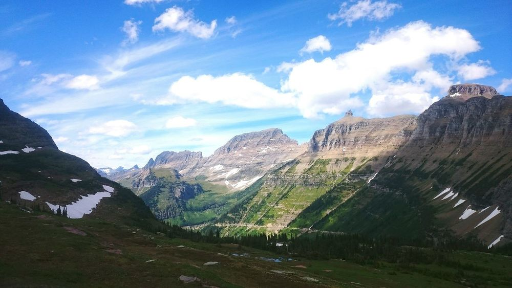 Escaping Nature On A Hike Beautiful Day Mountains Glacier National Park Montana