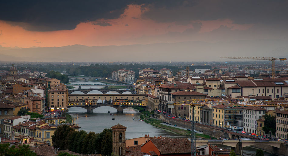 Panoramic skyline of the city of florence in italy from michelangelo piazza  before  sunset.