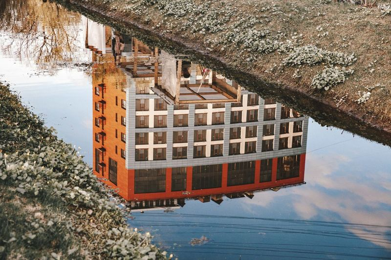High angle view of building by lake