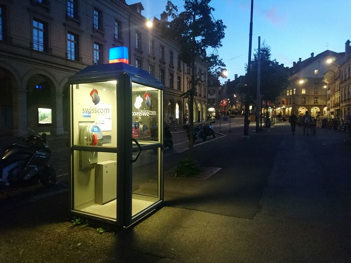 Telephone Booth Illuminated Night Outdoors City Not Mobile Phone HJB Switzerland Glassbox Phone PhonePhotography Call Call Me