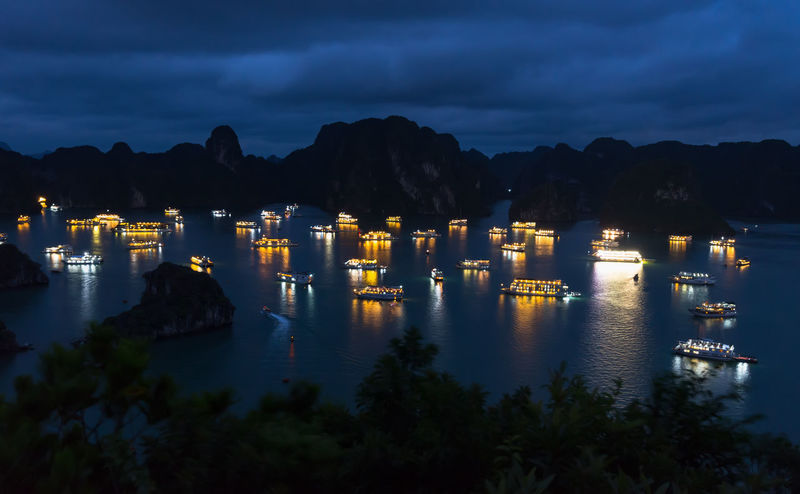Ha Long City Ha Long Nightphotography Ancient Architecture Building Exterior Built Structure Cloud - Sky Ha Long Bay Ha Long Bay Cruise Illuminated Landscape Mountain Nature Night No People Outdoors Sky Water