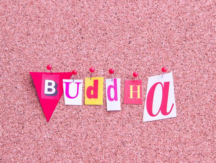 Buddha Buddha Schriftzug Word Buddhism Message Multi Colored No People Red Schrift Single Word Text Western Script Wort