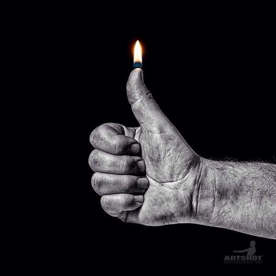 I like it Flame Thumb Still Life Light Black & White Darkness And Light Light And Shadow ArtWork Man Grunge