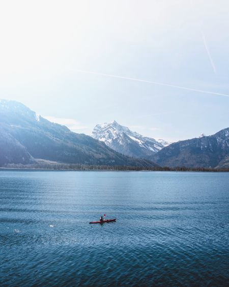 Mountain Water Scenics - Nature Transportation Beauty In Nature Nautical Vessel Mode Of Transportation Snowcapped Mountain Tranquility Nature Winter Tranquil Scene Cold Temperature Mountain Range Outdoors Day Sky Waterfront Lake Non-urban Scene