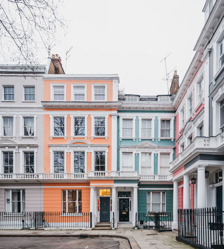 Pastel coloured terraced Victorian houses in London, UK. London Uk Primrose Hill Pastel Pastel Power Pastel Colored Houses Terraced Houses Front View Exterior England Home Ownership Real Estate Property Property Market Concept Pink Color Orange Color Row House Day Outside Victorian House Home Flat Apartment