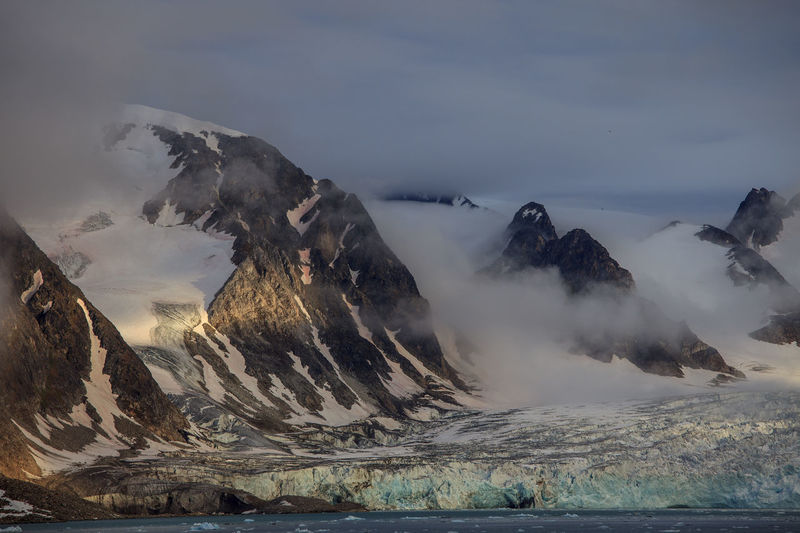 Glacial fog Arctic Day Glacier Ice Landscape Mountain No People North Pole Outdoors Snow Snow And Ice  Svalbard