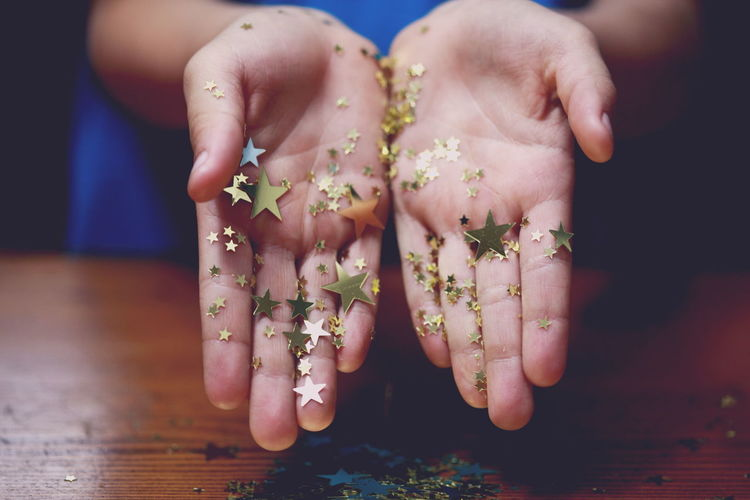 Canon Child Childhood Close-up Color Colour Confetti DSLR Gold Hands High Resolution Human Hand Indoors  Little Macro One Person Party People Showing Star Stars Holidays