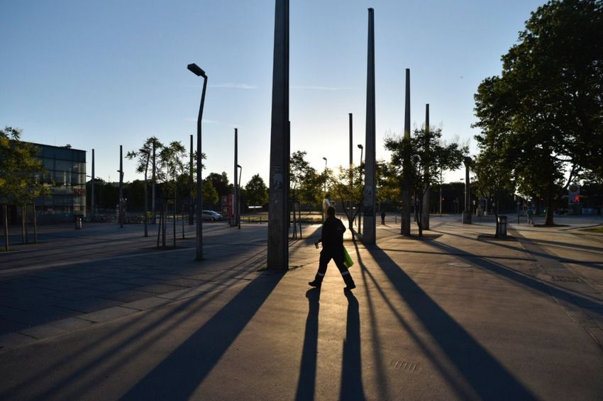 Praterstern Vienna One Person Full Length Real People Shadow Street Light Outdoors Sunlight Road Day Lifestyles One Man Only Men Sky Clear Sky