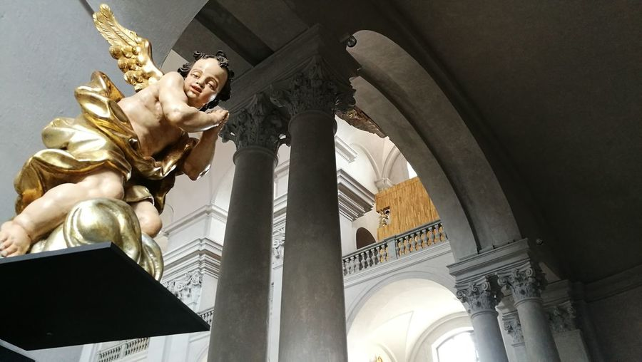 Angel in Piarist Church Statue Angel Piarist Church Litomyśl Gold Colored Gold Sculpture Low Angle View