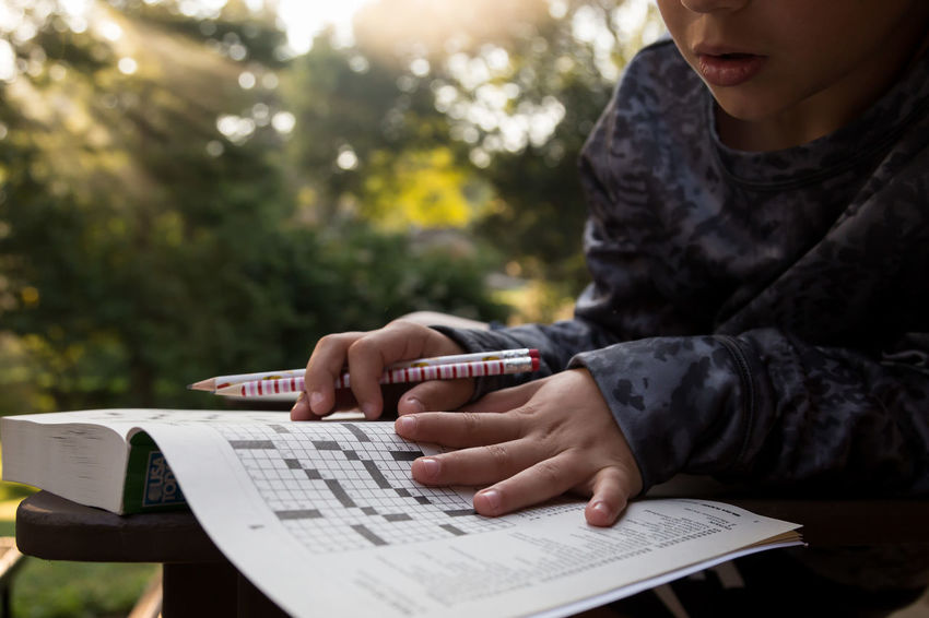 Book Childhood Close-up Day Focus On Foreground Human Hand Learning One Person Outdoors Paper Puzzle  Real People