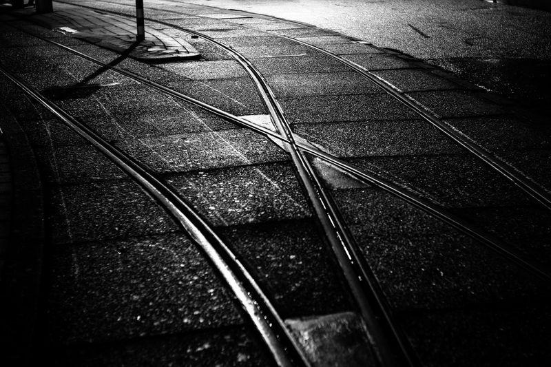 Amsterdam Blaclandwhite Close-up Crisscross Fine Art Photography Holland Monochrome Mood Night Streetlight Tracks Tram Pivotal Ideas