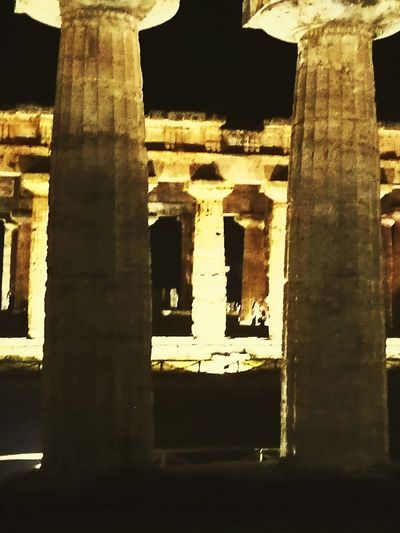 Ancient Travel Destinations Architecture Architectural Column History Old Ruin No People Night Ancient Civilization Tranquility Paestum Pestum Italy Temple Of Poseidon