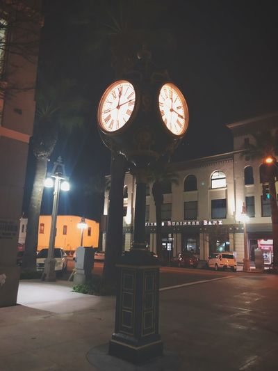 It's Time Night Downtown Downtown District Clock
