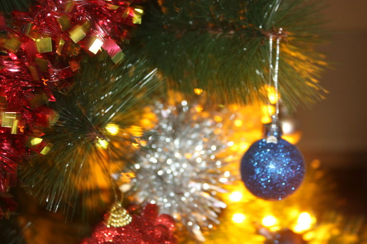 Christmas Holiday Christmas Decoration Christmas Ornament Decoration Celebration Tree christmas tree Illuminated Christmas Lights No People Close-up Hanging Celebration Event Event Sphere Focus On Foreground Holiday - Event Selective Focus Moments Of Happiness 2018 In One Photograph