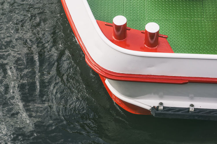High Angle View Of Red Boat Sailing In Lake