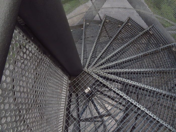 Bottrop Emscherkunst Ruhrgebiet Ruhrpott Ruhrpottromantik Spiral Staircase Spiral Stairs Stairs Stairway Tetraeder Circular Stairway Corkscrew Stairs Halde High Angle View Metal Spiral Spiral Staircases Spirals Staircase stairways Steel Vertigo Wentletrap Winding Stairs Wire Mesh