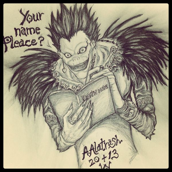 My favorite anime cartoon.by me Ryko Death Note My Draw Death Note Ryuk Anime