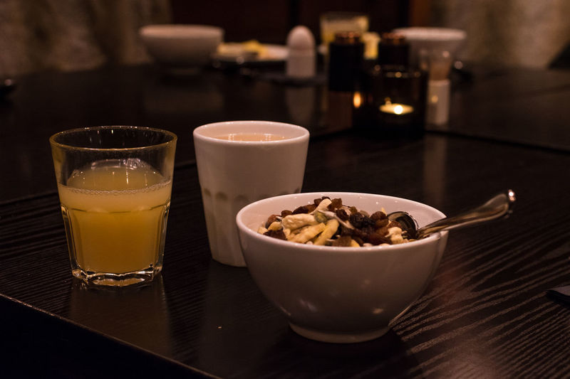 Breakfast Bowl Close-up Drink Drinking Glass Food Food And Drink Freshness Hotel Breakfast Indoors  No People Ready-to-eat Refreshment Table