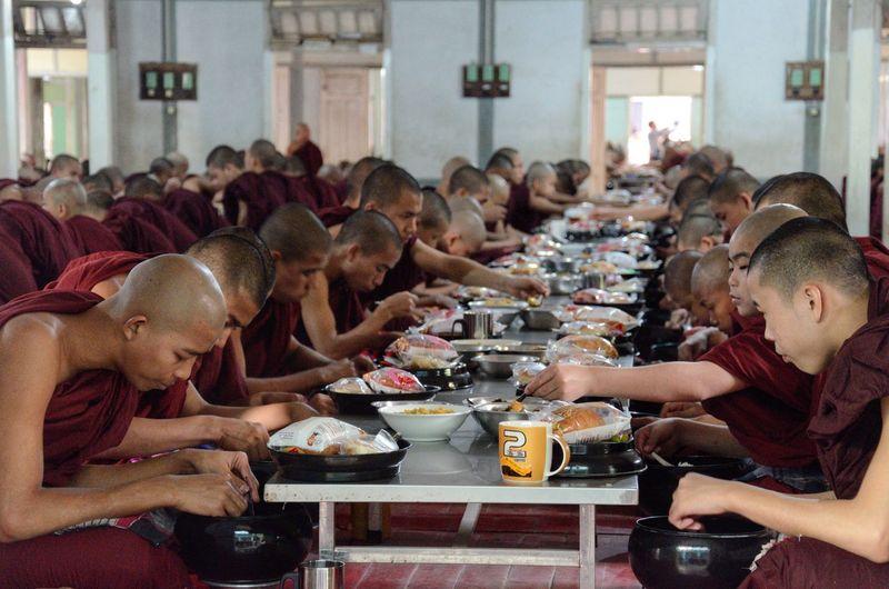 Bhuddist Monks having Lunch Monks Bhuddist Myanmar Travel Culture