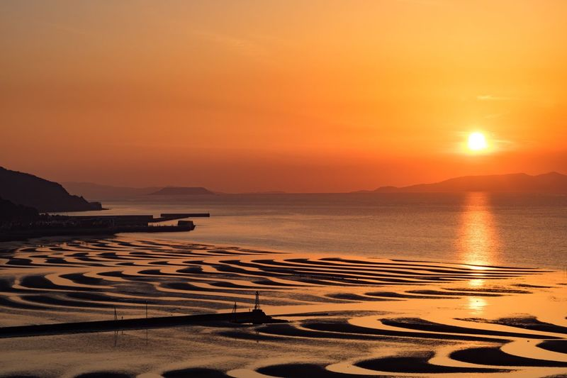 Sunset Beauty In Nature Orange Color Sky Sea Water Landscape Japan My Favorite Place Eye Em Nature Lover EyeEmNewHere