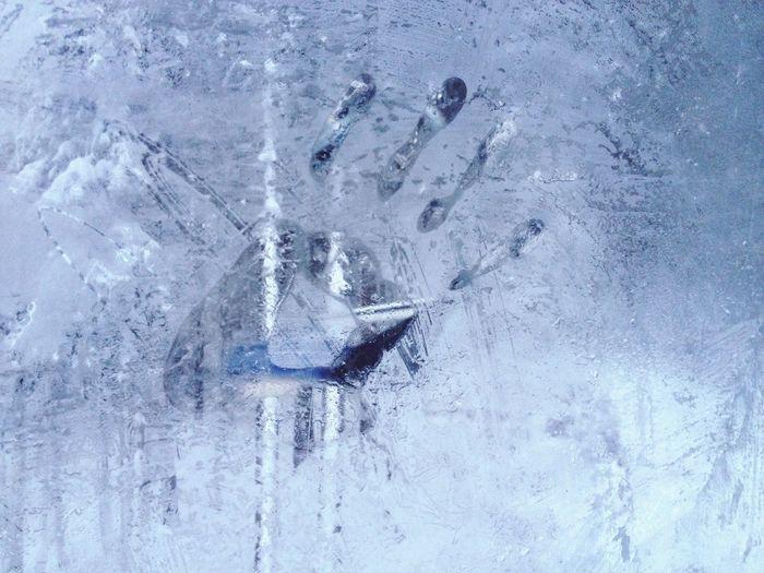 handprint on ice