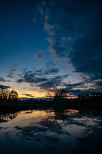 Warm sunset colors before the snow. Nature Photography Nature Croatia Clouds Rural Scene Clouds And Sky Dusk Water Sunset Lake Autumn Blue Reflection Sky Cloud - Sky