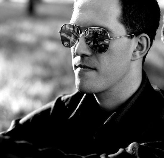 Close-up of boy wearing sunglasses