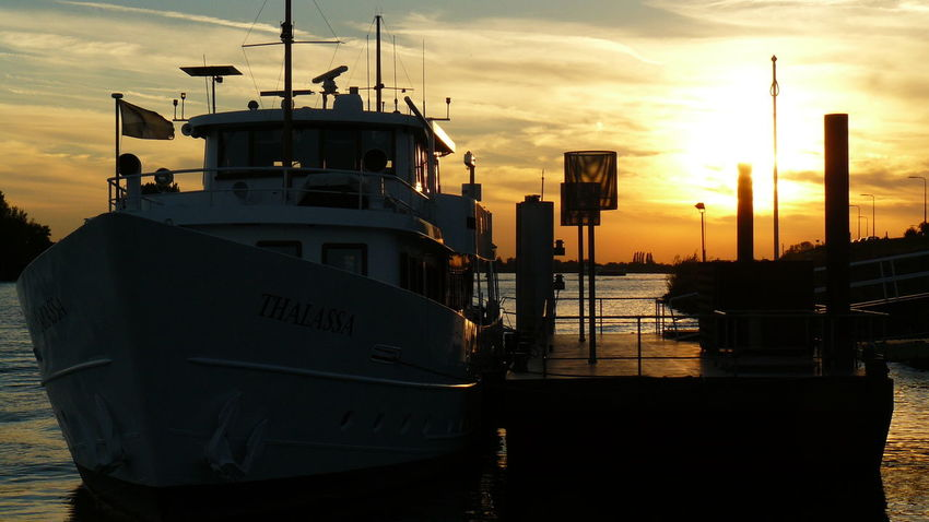 Water Nautical Vessel Sunset Harbor Sea Silhouette Dusk Sky Cloud - Sky