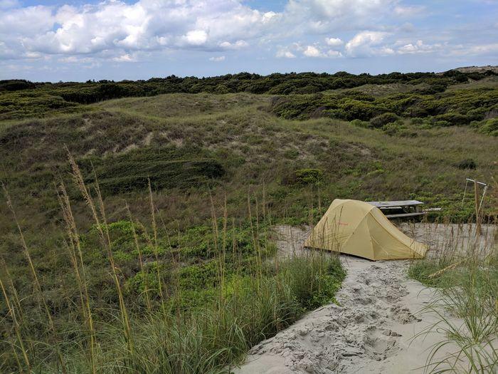 Camp Cloud - Sky Outdoors No People Day Landscape Nature Sky Beach Beach Camping Tent Tent Camping Dunes Dunescape HammocksBeach North Carolina The Week On EyeEm