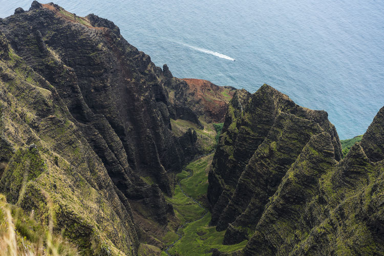 Aerial Photography Nā Pali Coast State Park Hawaii Hiking Mountain Island Valley Travel Seascape Waves, Ocean, Nature Summer Beach Boat Forest Ocean Sea Water Aerial View Sky Nautical Vessel The Great Outdoors - 2018 EyeEm Awards