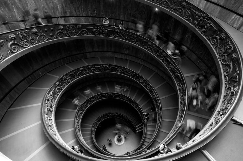 Blurred Motion Of People Walking Inside Vatican Museums