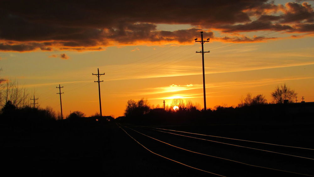 Sunset Taking Photos Electric Lines Train Tracks Bright OrangeSkyloversColorful Cadillac Pure Michigan