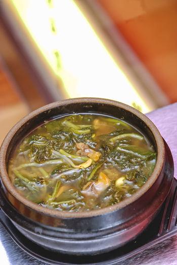 Korean cuisine mee yeok gook or seaweed soup on stone pot
