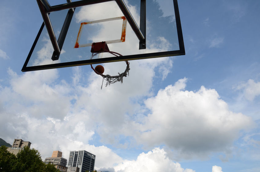 Basketball Ring Cloud Cloud - Sky Cloudy Home Is Where The Art Is Low Angle View Pole Sky