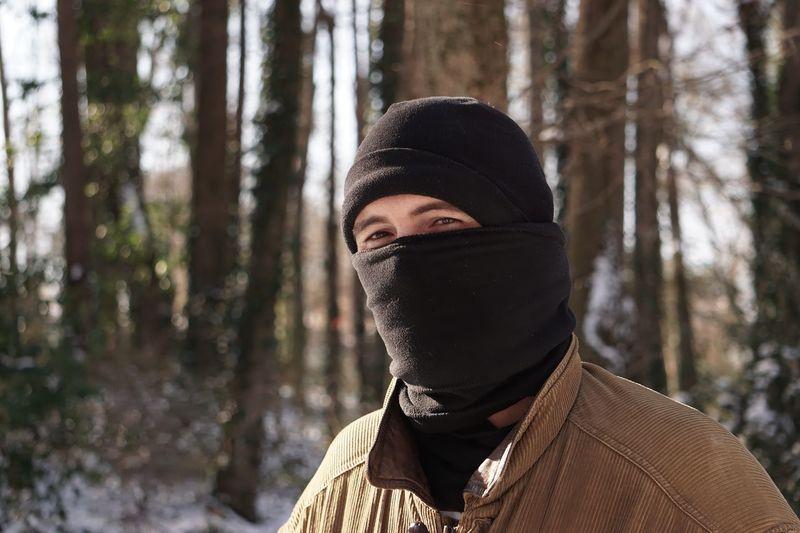 Close-up of man wearing scarf