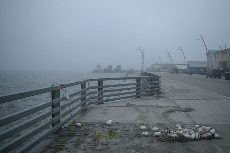 Pier on sea during winter