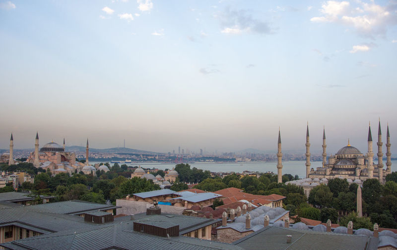Architecture Blue Mosque Hagia Sophia Rooftop Rooftop Scenery Arabic Architecture Architecture Building Exterior Built Structure City Cityscape Day Dome High Angle View No People Outdoors Place Of Worship Religion Sky Spirituality Travel Destinations