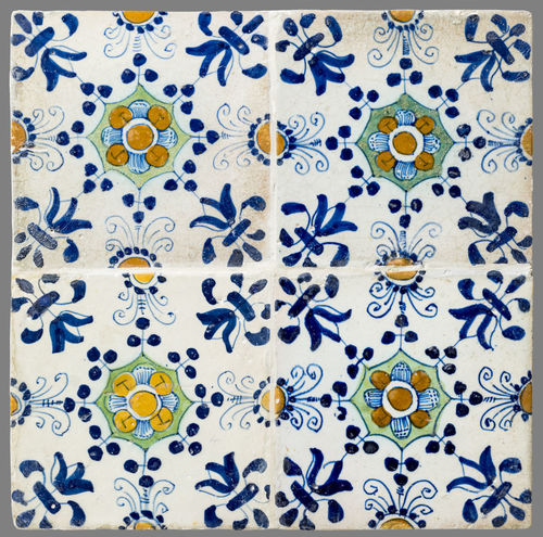 16th Century 17th Century 18th Century Abstract Backgrounds Blue Close-up Day Flower Full Frame Historic Indoors  Multi Colored No People Pattern Textile Tile Yellow