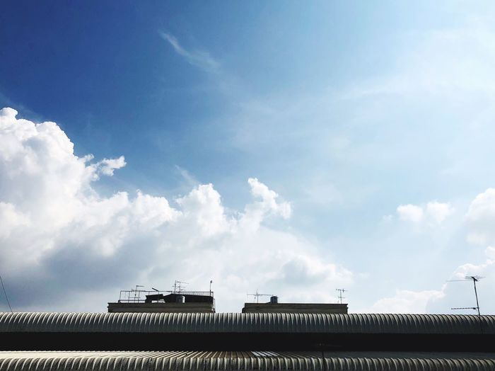 Sky Cloud - Sky Architecture Built Structure Building Exterior Nature Low Angle View Satellite Animal Roof Travel Fence City No People Outdoors House Blue Animal Themes Building Day