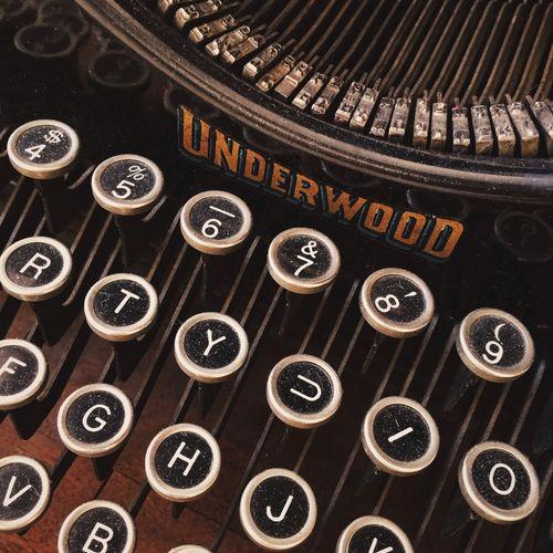Close-up of antique typewriter
