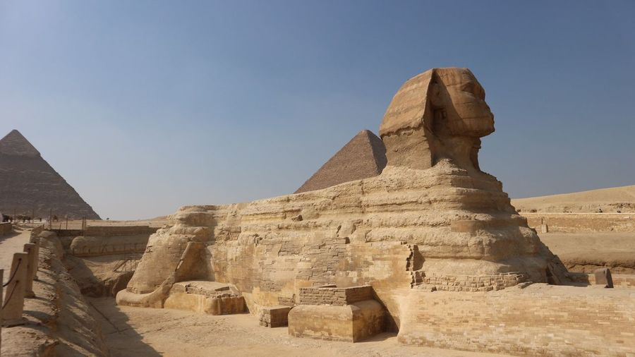 Sphinx of Giza, Pyramids, Cairo, Egypt Gizeh Desert Sand Sphinx Pyramid Cairo Ägypten  Egypt Giza Culture Ancient History Architecture The Past Ancient Civilization Travel Destinations Built Structure Travel Nature Old Ruin Tourism Sky Archaeology Stone Material Outdoors Old No People Day EyeEmNewHere
