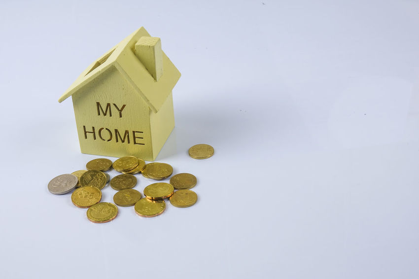 Small house and coins. Saving for house concept Loan  Banking Conceptual Photography  Gain House Housing Project Property Real Estate Saving Saving Money