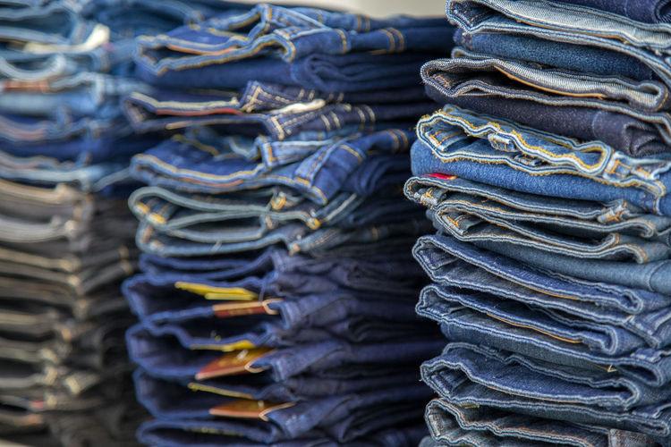 Full frame shot of stacked jeans