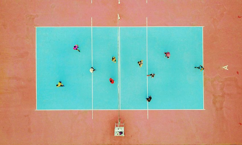 Aerial view of volleyball court Aerial Shot Aerial View Court Dronephotography Court Volleyball Game Playing Indoors  Education Science No People Blackboard  Day Tournoment Indoors