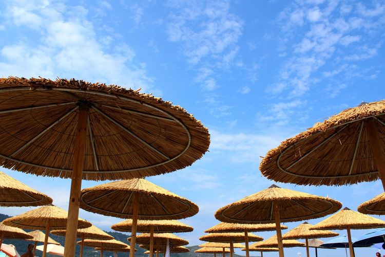 Low angle view of thatched roof parasols against sky