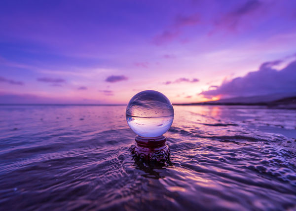 Crystal Ball Hawaii Beauty In Nature Cloud - Sky Crystal Dusk Floating On Water Horizon Horizon Over Water Idyllic Lens Ball Nature No People Outdoors Purple Reflection Rippled Scenics - Nature Sea Sky Sunset Tranquil Scene Tranquility Water Waterfront EyeEmNewHere