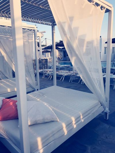 Daybed Light Hygge Cozy Enjoy Travel Travellife Relax Mykonos Hotel Poolside Daybed EyeEm Selects Architecture Built Structure Day No People Sunlight White Color Chair
