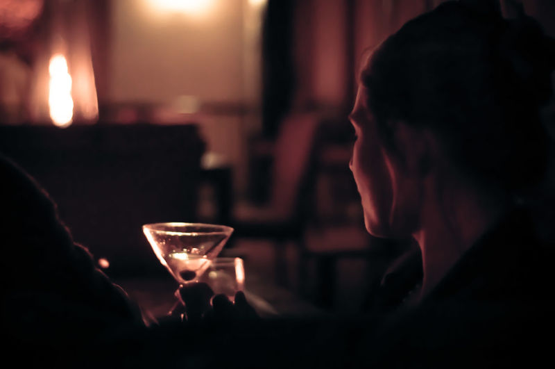 Woman With Martini Drink Glass In Restaurant