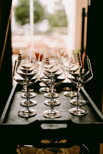 Close-up of glass glasses on table