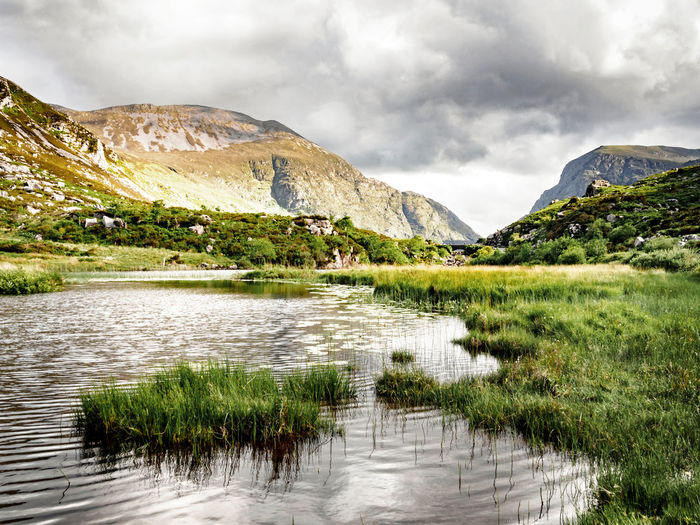 Silvery Coosaun Lake 🏞 Mountain Landscape Dramatic Sky Lake Cloud - Sky Mountain Range Scenics Wilderness Nature Water Outdoors Beauty In Nature No People Tree Day Coosaun Lake County Kerry Gap Of Dunloe Ireland Lough Hiking Purple Mountain Macgillycuddy's Reeks The Week On EyeEm Lost In The Landscape